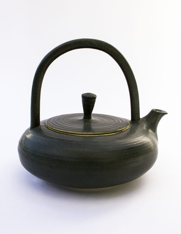 Teapot--black with overhead handle